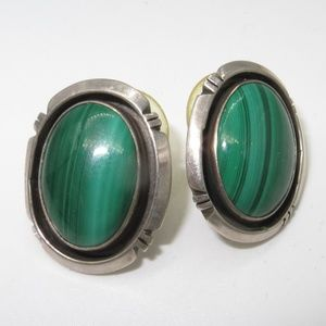 Jewelry - Vintage Signed Sterling Malachite Earrings
